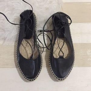 NWT Zara leather lace up black espadrilles
